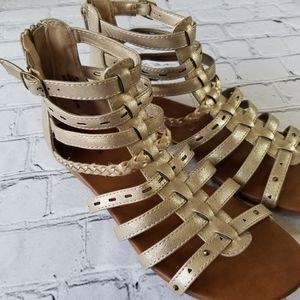 Maurices Braided Metallic Gladiator Sandals 9